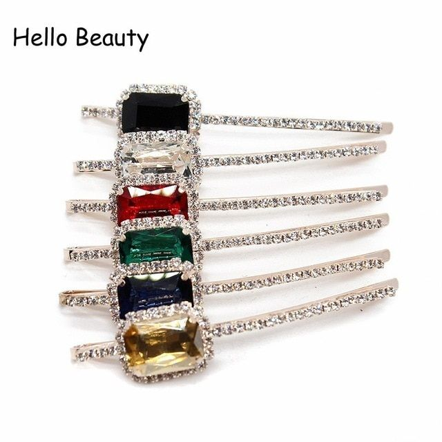 1 Pair Elegant Korean Hair Accessories Women Girls Hair Jewelry Black Red  Stone Crystal Barrette Rhinestone d0363d1b8697