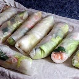 Asian Spring Rolls (shrimp) on BigOven: Easy to make, low-fat, and delicious. Easy to make and great for lunches or snacks.