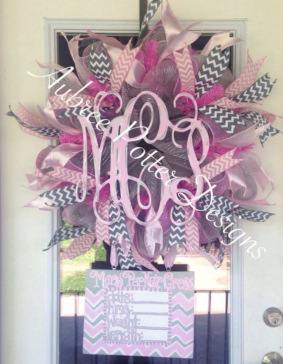 Custom Baby Girl/Boy Personalized Vine Monogram With Attached Announcement Hospital Door Hanger/ Deco Mesh Wreath  on Etsy, $120.00