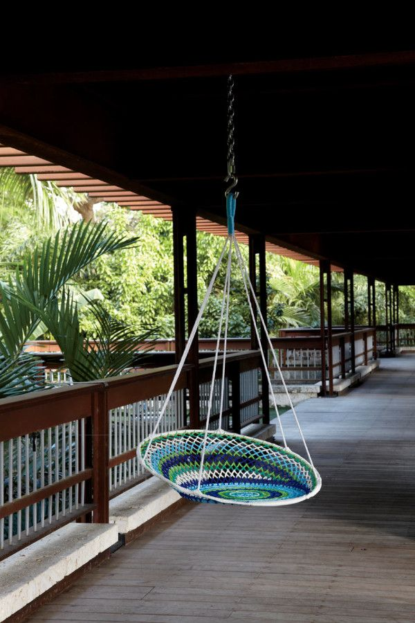 Indoor/Outdoor Swing: The Novogratz Brasil Collection for CB2 in home furnishings  Category Could make this out of hoolahoop rings and strong rope!?