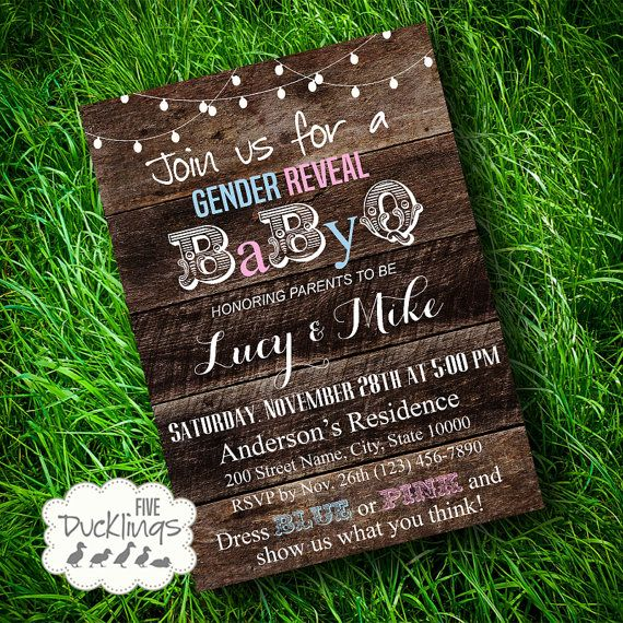Gender Reveal Babyq Party Invitation Rustic Wood