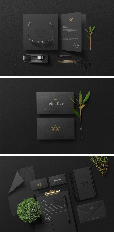 Free Download Elegant Black Branding Stationery Psd Mockup Branding Branding Mockups Stationery Branding Graphic Design Tips
