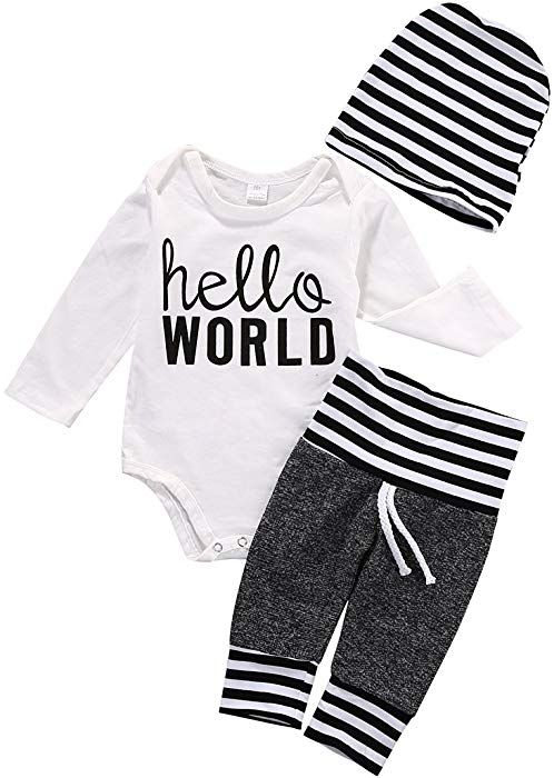 7ce1ff67f5bf Amazon.com: 3Pcs Infant Newborn Baby boy Girls Hello World Romper Tops+Pants  Clothes Outfit Sets (0-3 Months, Style 1): Clothing