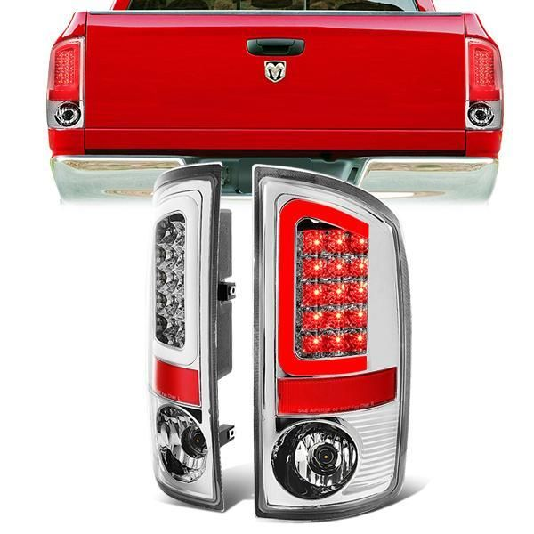 02 06 Dodge Ram 1500 2500 3500 Led C Bar Rear Brake Tail Lights Chrome Tail Light Led Dodge Ram 1500