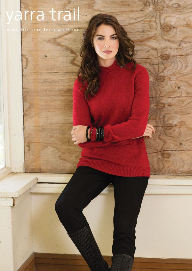 Work the sweater this season in our Red Marle Button Neck Sweater. A soft red marle fabrication this long sleeve style features a raglan sleeve with a ribbed collar with button up. Keep warm and cosy in this modern knit and denim. http://www.yarratrail.com.au/knitwear/button-neck-sweater-red-marle-15w7850.html