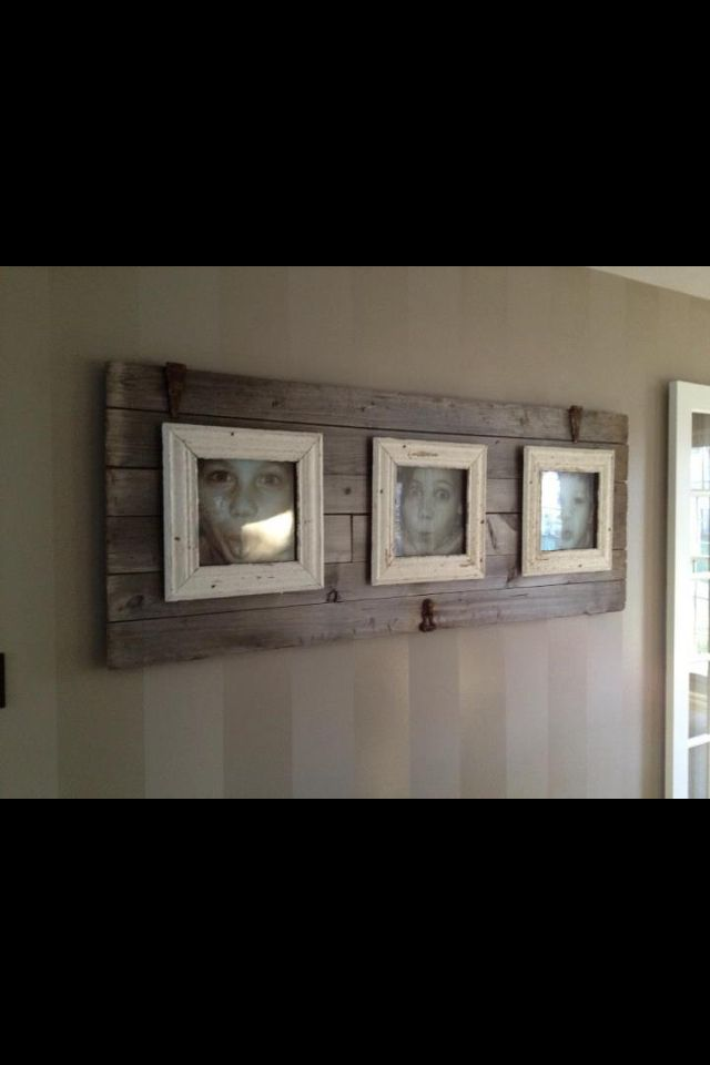 Barn board background for picture frames.
