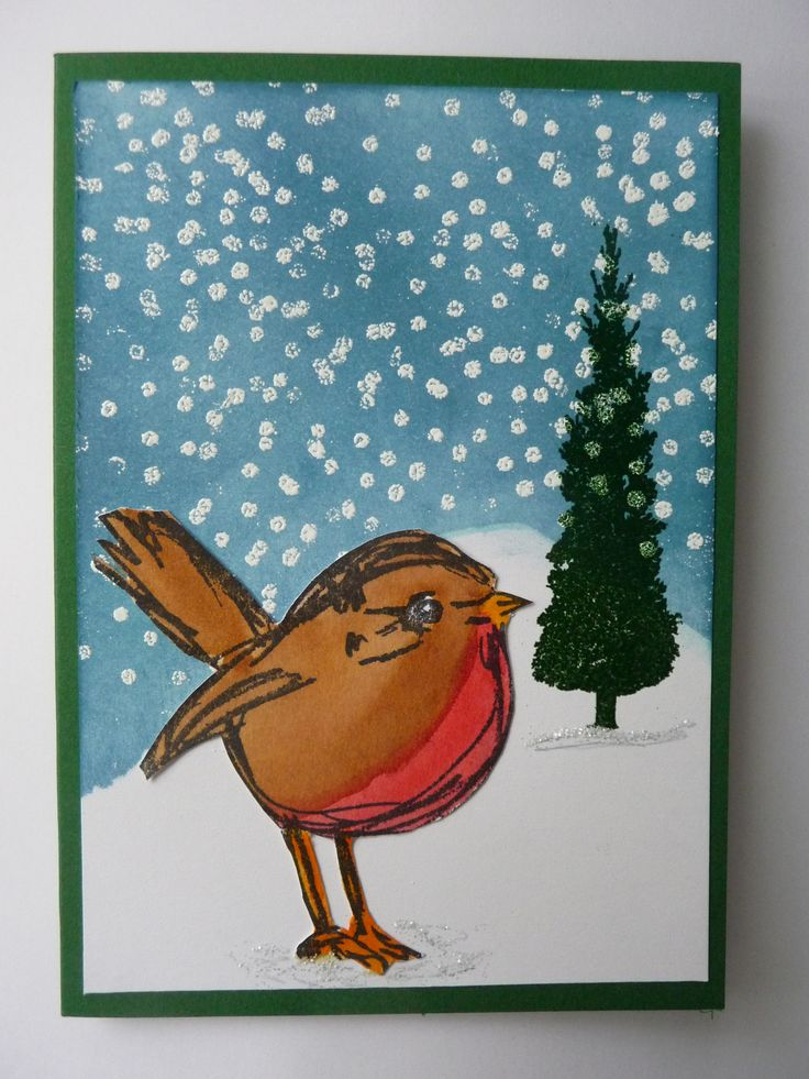 Dina S Scribbly Birds Stamp For Christmas Card Made By