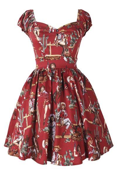 Burgundy High-Waisted Graphic Western Girls Princess Dress