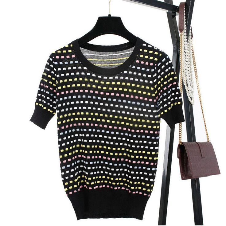 Sruilee Лето 2017 г. Новая неделя моды Для женщин футболка Пуловеры для женщин Рубашка с короткими рукавами волна точка полосатый вязаный джемпер Топы корректирующие взлетно посадочной полосы 7714купить в магазине SRUILEE StoreнаAliExpress