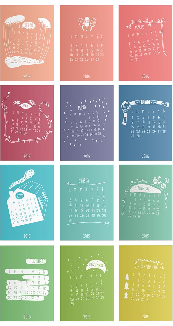 Calendario 2015 by Ana Robiola, via Behance yaaaaa 2015!!!!