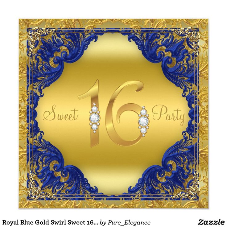 Royal Blue Gold Swirl Sweet 16 Party Card Royal blue and gold sweet sixteen birthday party invitation with elegant gold diamond bling numbers on a fancy royal blue and gold background. This beautiful royal blue and gold sweet 16 party invitation is easily customized for your event by simply adding your details in the font style and color and wording of your choice. This is a printed design with no real diamonds, gold, glitter, etc.