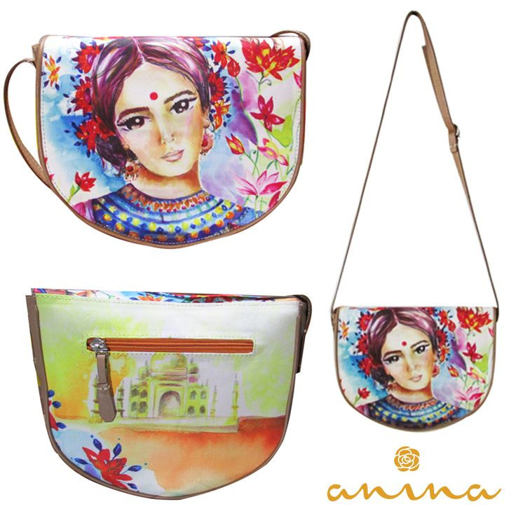 Anina te hará brillar con nuestro modelo en cuero y lona con la estampa de Valentina Castaño inspirada en la India, pidela al whatsapp: +57 3215012513 o comprala en linio: https://www.linio.com.co/search?q=anina #bolsos #handbag #cuero #leather #estampa #india #pintura