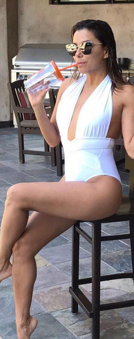 Who made Eva Longoria's white swimwear?