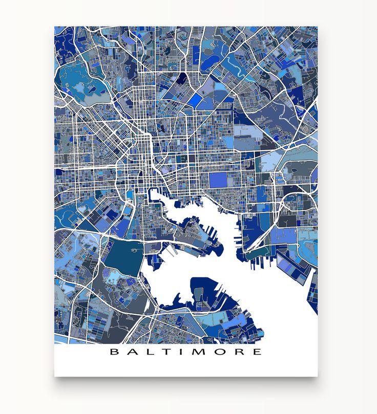 baltimore map print maryland usa
