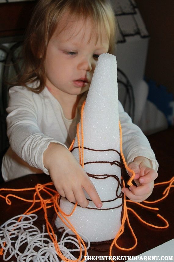 Styrofoam & Yarn. Yarn sticks to styrofoam. It makes for a great busy time activity. Find more playtime made easy suggestions.