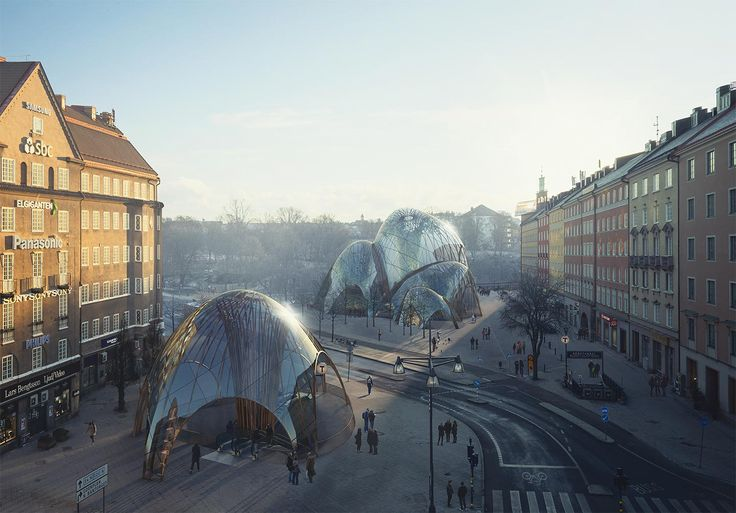 S:t Eriks inomhuspark – Parkbyggnaden består av sex sammanlänkade ellipsoid-lika volymer och en pendang som ersätter dagens tunnelbaneuppgång.