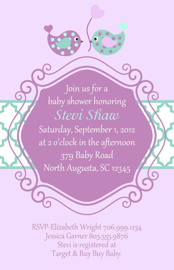purple and teal baby bird shower invitation set of 20 invites