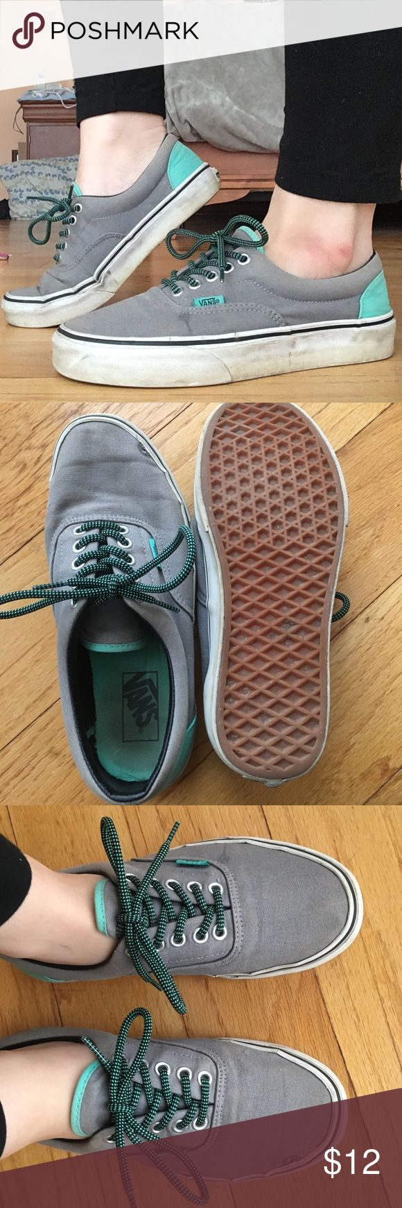 VANS Era Grey & Electric Green Canvas Skate Shoes Size: 6.5 men's, 8 women's  Brand: vans  Color: blue and teal  Condition: the top part of the soul is starting to separate a little bit and there's a small hole pictured at the front of the shoe. Other than that, pretty good condition :) Vans Shoes Sneakers