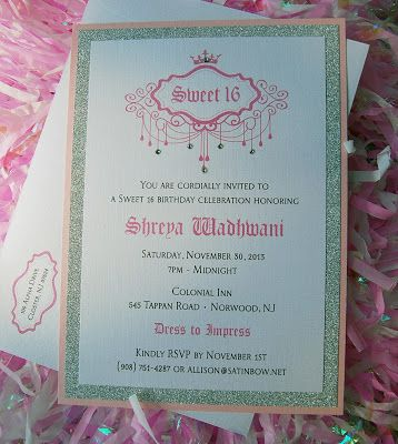 Sweet 16 Invitation in Pink, Silver and Rhinestones - by The Satin Bow