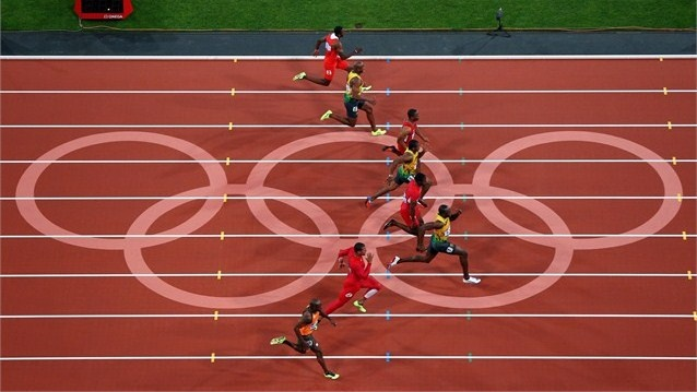 Super Bolt!! #london2012 A sprint finish in one of the heats of the men's 800m