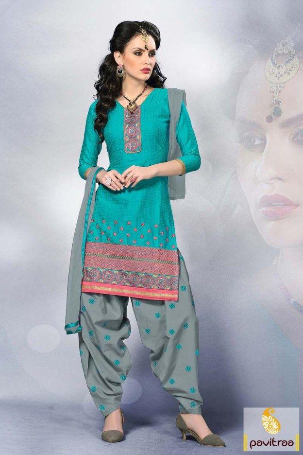 #Aqua Blue and Grey, #Designer, #Cotton, #Patiala Salwar Kameez, #Low Cost, #Traditional, #Fashionable, #Mahendi, #Sangeet, #Party.