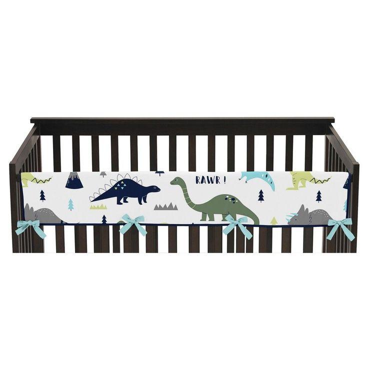 Sweet Jojo Designs Front Crib Rail Guard Cover - Blue & Green Mod Dino
