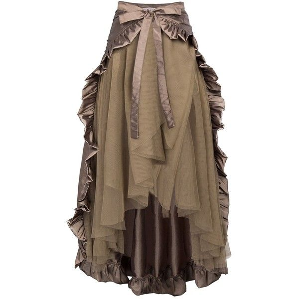 GK Steampunk Retro Victorian Punk Cincher Lace up Long Ruffle Pencil... ❤ liked on Polyvore featuring skirts, long victorian skirts, long brown skirt, long skirts, ruffled pencil skirt and victorian skirt