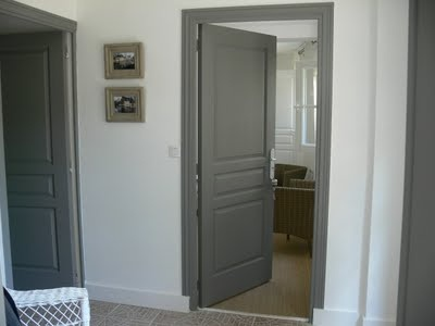 Love this! Paint doors and trim rich dark gray.  Can't find name of this color but it's close to Chelsea Gray by Benjamin Moore.