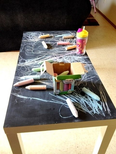 Great idea- pick up an old coffee table and paint with chalkboard paint. #diyprojects #diymoms