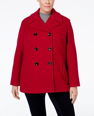 Calvin Klein Plus Size Wool-Cashmere-Blend Peacoat, Only at Macy's - Clearance - Women - Macy's