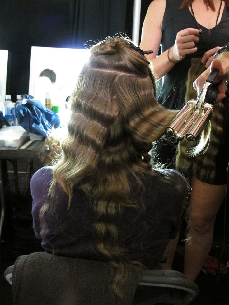 Romantic Waves Ever seen a triple barrel curling iron? Here's a fine specimen seen backstage at Anna Sui's show for her SS14 col...