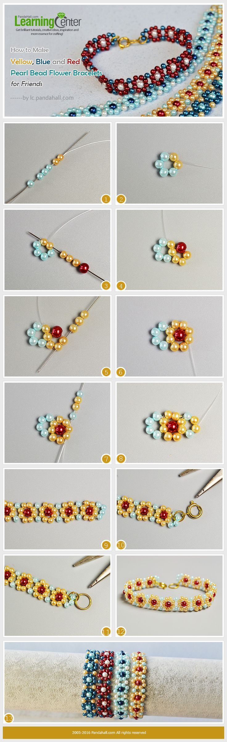 How to Make Pearl Bead Flower Bracelets This is a set of different colored pearl bead flower bracelets, you can make them just with some pearl beads and basic beading skills.