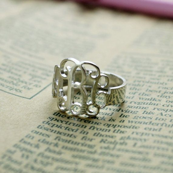 Cut Out 3 Initials Monogram Ring Name Ring by NameplateNecklace, $23.99