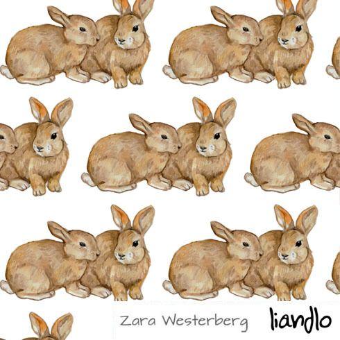 Rabbit  White jersey tyg ÖKO