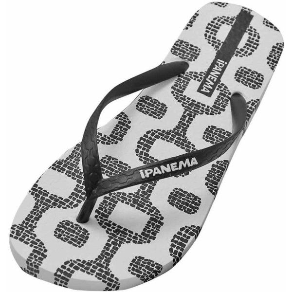 Ipanema White & Black Classic Print Premium Flip Flops ($17) ❤ liked on Polyvore featuring shoes, sandals, flip flops, flip flops women, footwear, white and black shoes, black and white flip flops, black and white shoes, patent flip flops and black white sandals