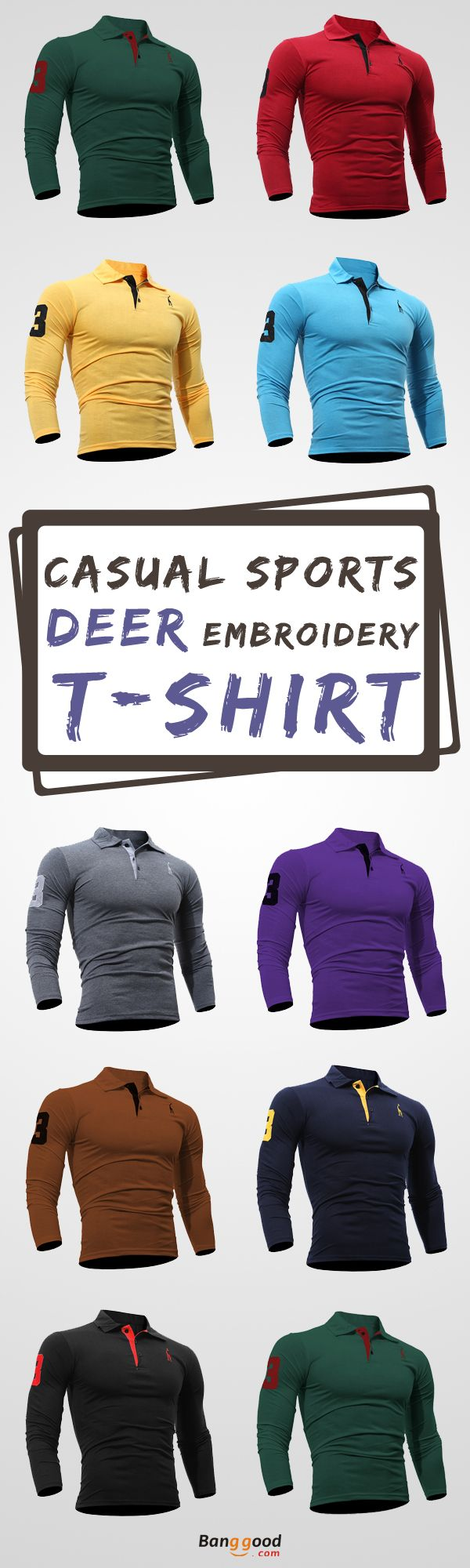 US$9.99 + Free shipping. Size: S~XL. Color: White, Black, Navy, Sky Blue, Red, Dark Gray, Purple, Coffee, Yellow, Green. Fall in love with casual and sports style! Fashion Deer Embroidered T-shirt Men's Casual Solid Color Slim Fit Long Sleeved T-shirt. #mens #shirts