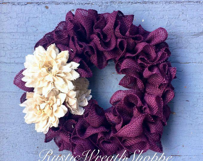 Spring Wreath Porch Decor Purple Burlap Wreath Front Etsy