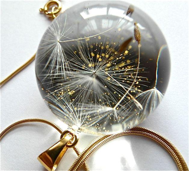 Naszyjnik z żywicy i nasion dmuchawca-złoto-3cm - Grol-jewellery - Naszyjniki