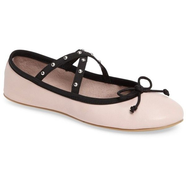 Steve Madden Twirls Ballet Flat (Women) ($27) ❤ liked on Polyvore featuring shoes, flats, pink leather, pink ballet shoes, pink flats, pointed-toe flats, pink leather flats and strappy flats