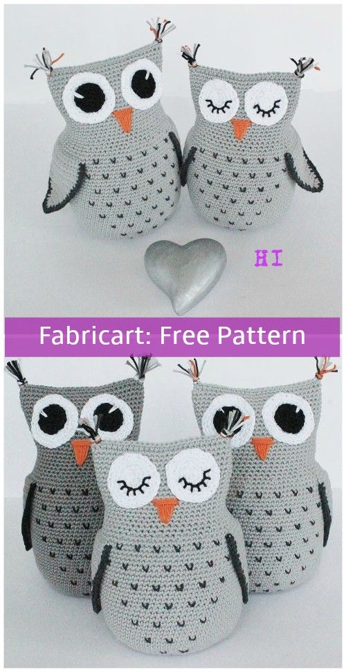 Crochet Heart Stitch Owl Free Pattern