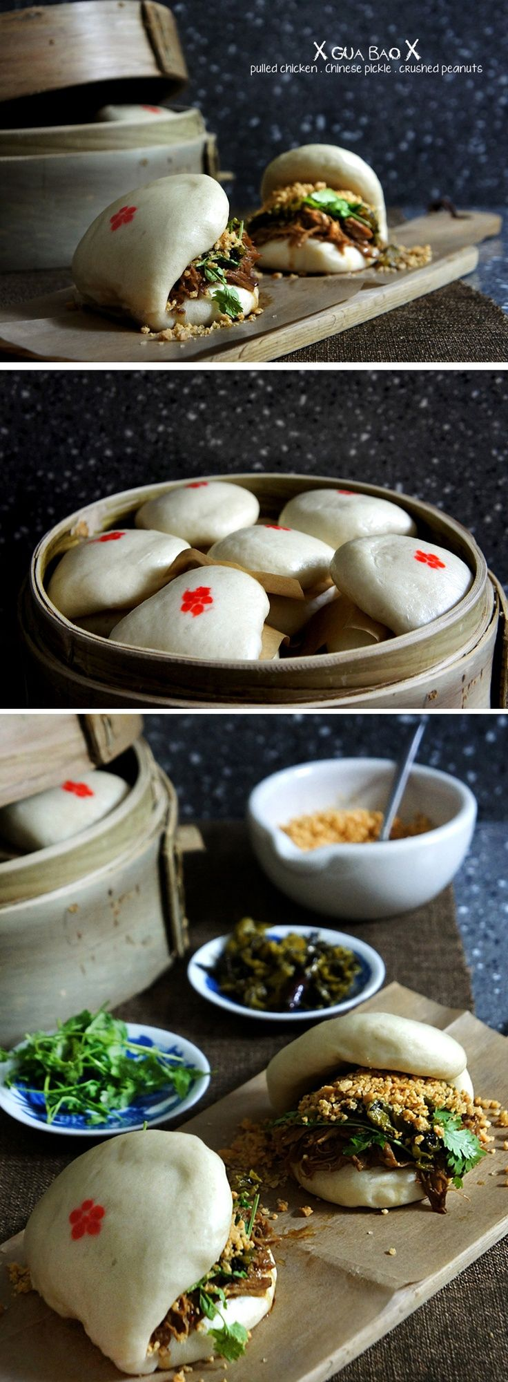 Gua Bao or known as flat steamed buns (with pulled chicken, peanuts, & Chinese pickled cabbage)