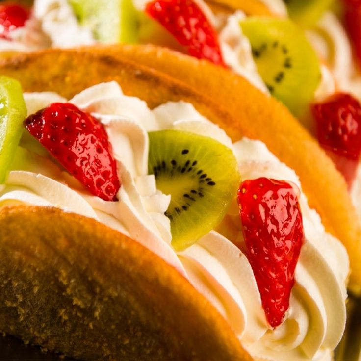 A Simple and yummy recipe for dessert tacos filled with Strawberry, Kiwi and whipped Cream.. Strawberry Kiwi Cream Dessert Tacos Recipe from Grandmothers Kitchen.