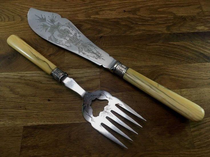Harrison Bros Howson SHEFFIELD Fish Serving Knife Fork SET England Vintage Kitchen Knives