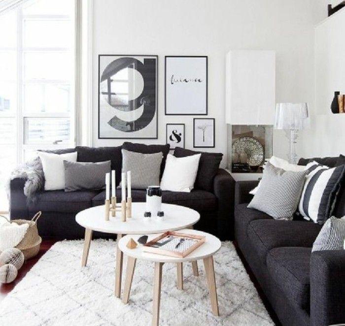 deco salon blanc, amenagement salon scandinave, canapé couleur gris ...