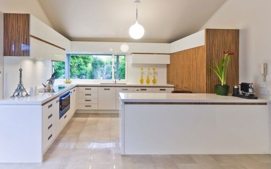 Bright Filled Fabulous Futuristic Kitchen From Mal Corboy With Marble Flooring Tiles And White Cabinets