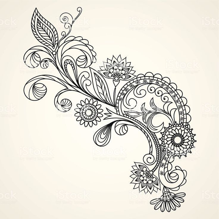 Floral pattern hand drawing illustration Lizenzfrei Floral pattern hand drawing … #flowertattoos