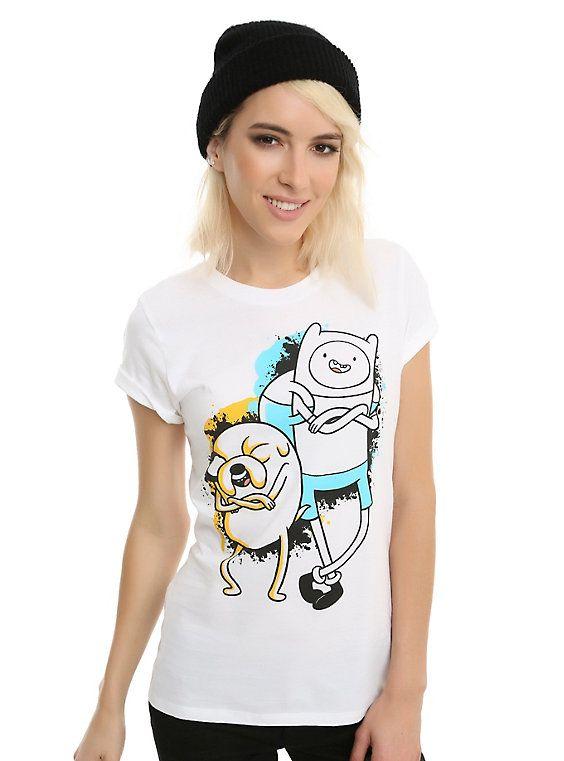 Adventure Time Finn & Jake Splatter Girls T-Shirt, BLACK