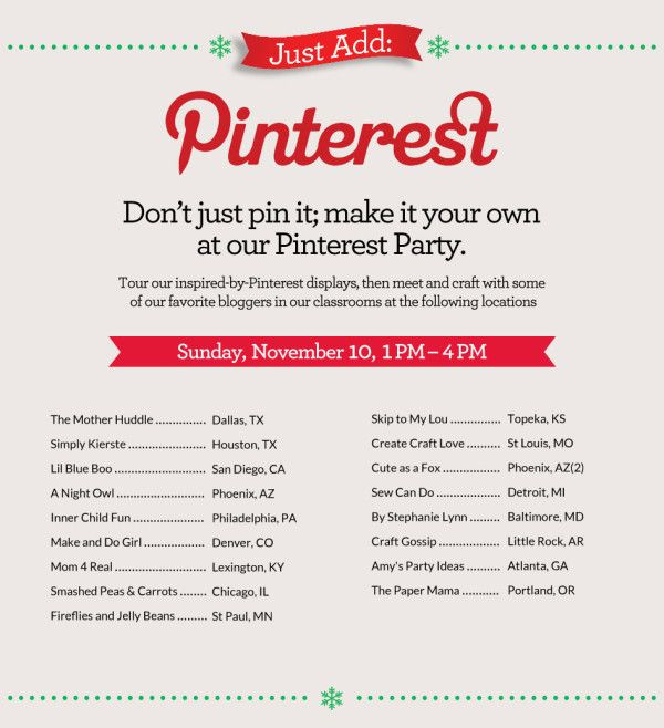 #PinterestNews Nov. 8, 2013: Pinterest Teams Up With Michaels Craft Stores & Bloggers To Promote Parties.