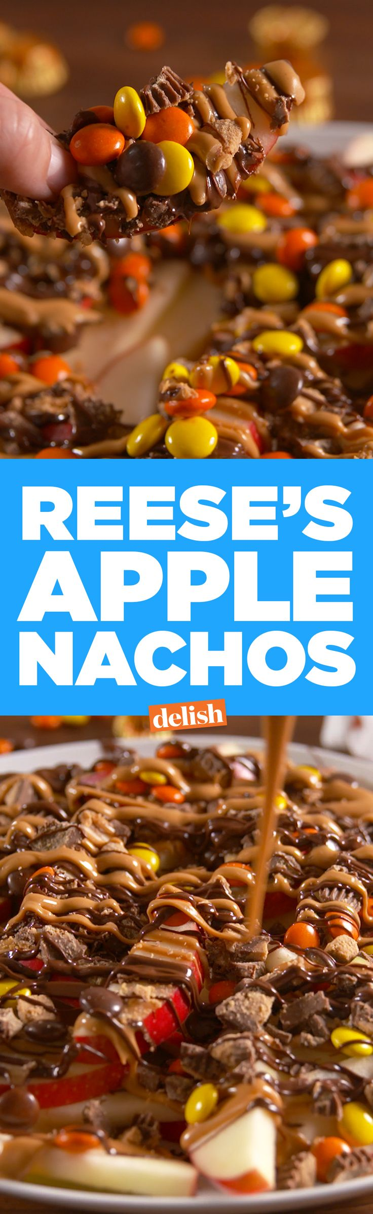 Peanut butter lovers, you need to make these Reese's Apple Nachos. Get the recipe on Delish.com.