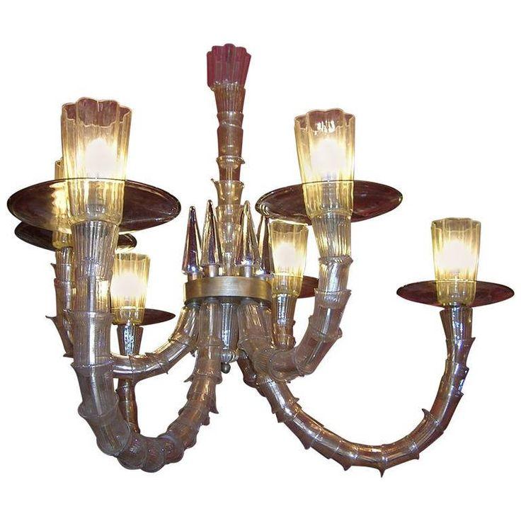 Mid-20th Century Six Arms Murano Glass  Chandelier with Gold Leaf / lampadario in vetro a sei luci / lampadario in vetro di murano di Sanmarcoartedesign su Etsy